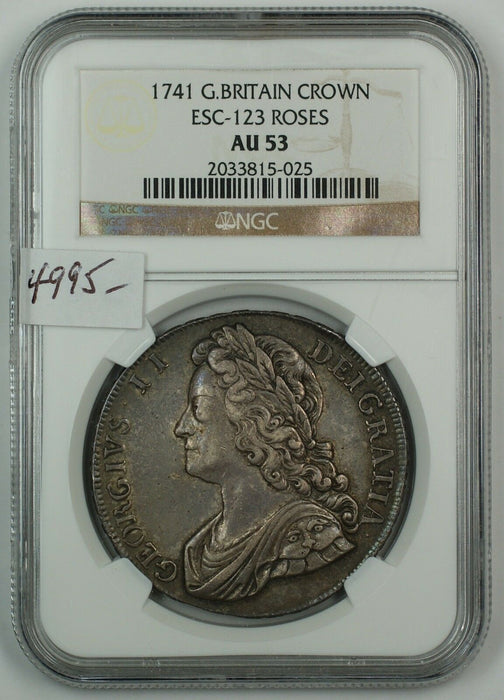 1741 Great Britain Silver Crown Coin ESC-123 Roses NGC AU-53 AKR