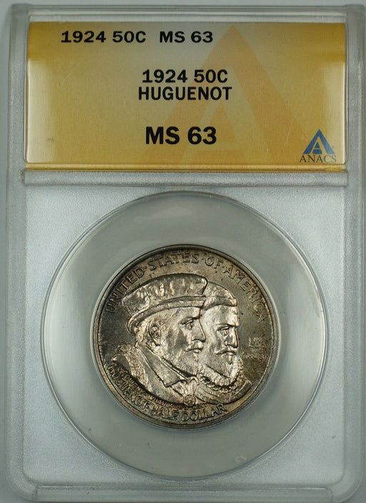 1924 Huguenot Commemorative Silver Half Dollar ANACS MS-63 (Better Coin) Toned A