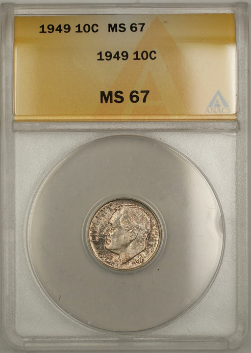1949 Silver Roosevelt Dime 10C Coin ANACS MS 67 Toned DGH