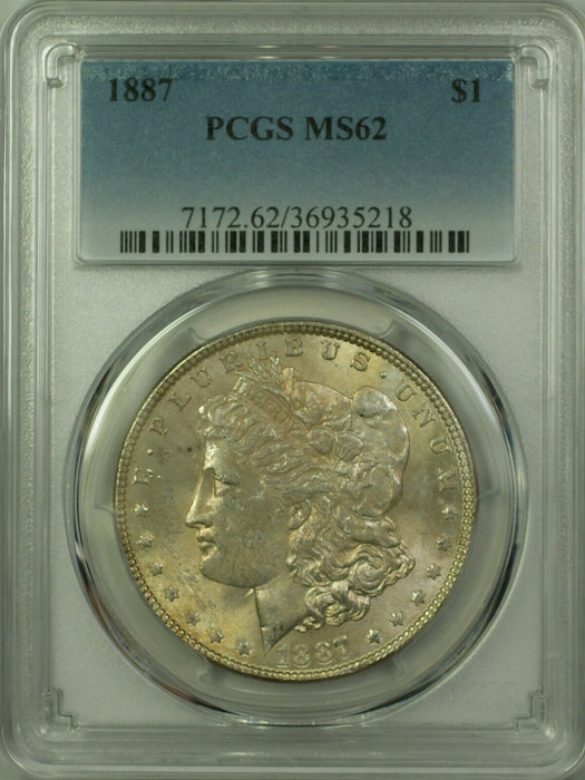1887 Morgan Silver Dollar $1 Coin PCGS MS-62 Lightly Toned Obverse (20) (A)