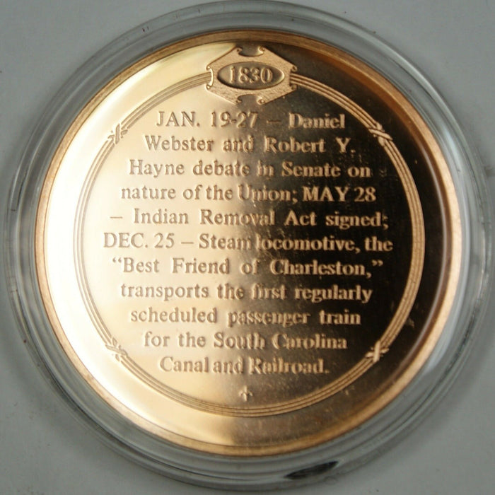 Bronze Proof Medal First Train Passenger Service Inaugurated Dec 25 1830