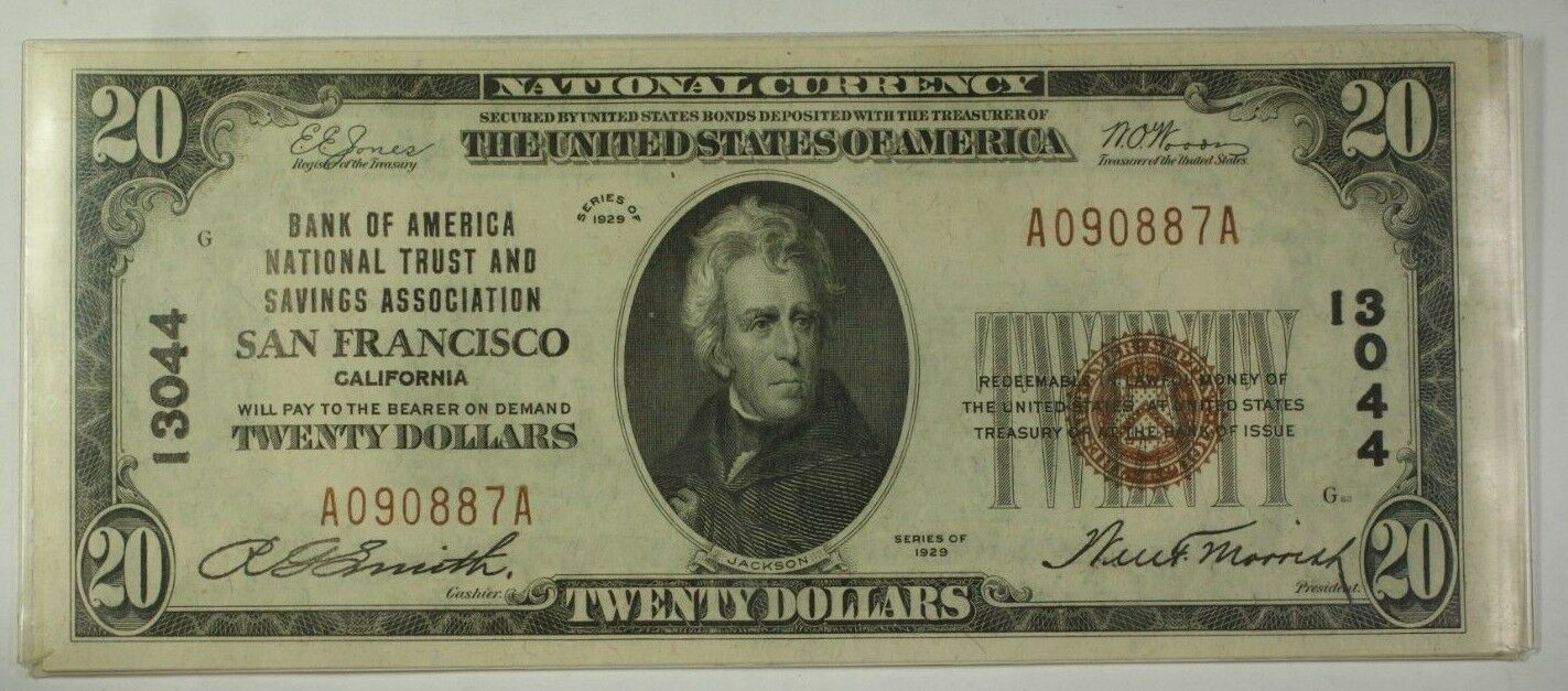 Series of 1929 $20 National Banknote San Francisco California #13044 (AU) WW