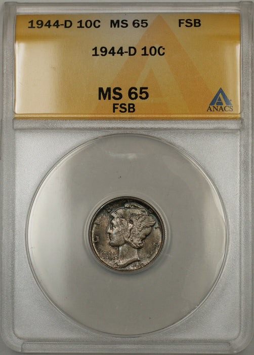 1944-D Silver Mercury Dime 10C Coin ANACS MS-65 Full Split Bands (Toned 11 B)