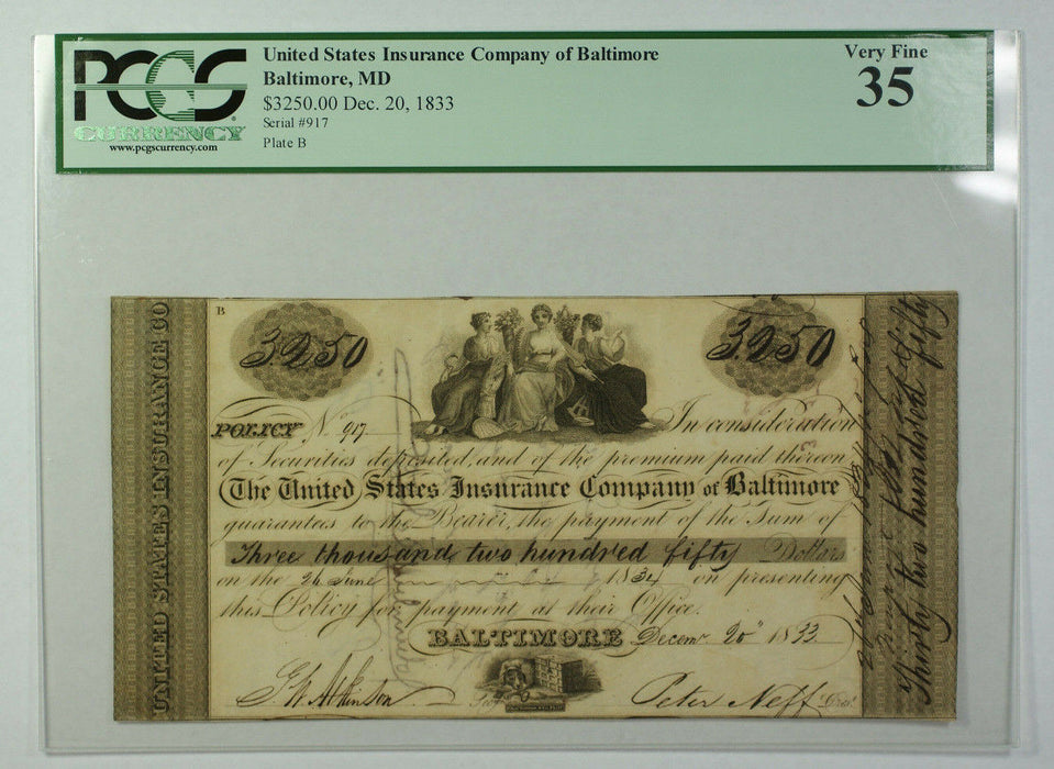 Dec 20 1833 $3250 Obsolete Currency US Insurance Co. Baltimore MD PCGS VF-35