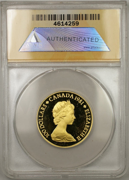 1981 Proof Canada National Anthem 1/2 oz Gold Coin $100 ANACS PF-64 DCAM (AMT)