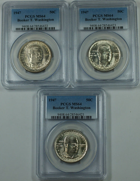 1947 Booker T. Washington Silver Half 50c PCGS MS-64 *PRICE FOR ONE COIN ONLY*