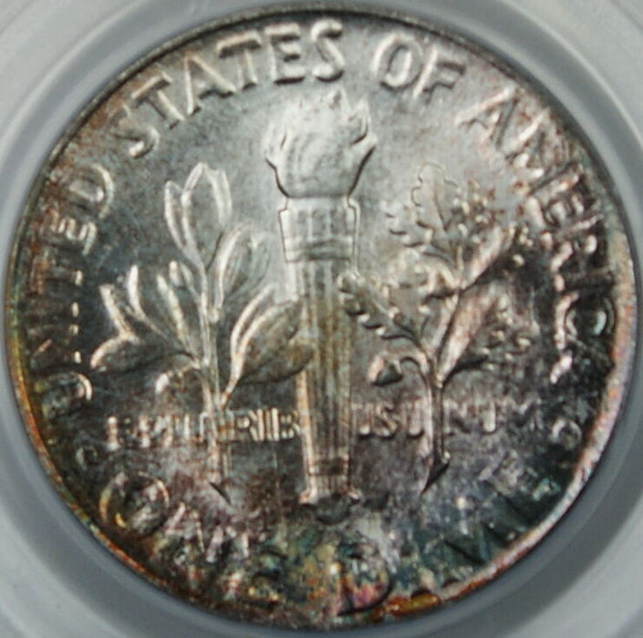 1954 Silver Roosevelt Dime, PCGS MS-66, Toned, Brilliant Coin