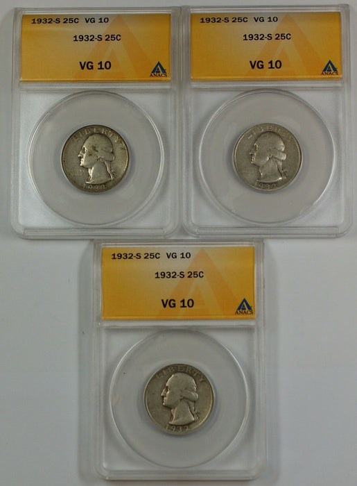 1932-S Silver Washington Quarter, ANACS VG-10, *PRICE FOR ONE COIN ONLY*
