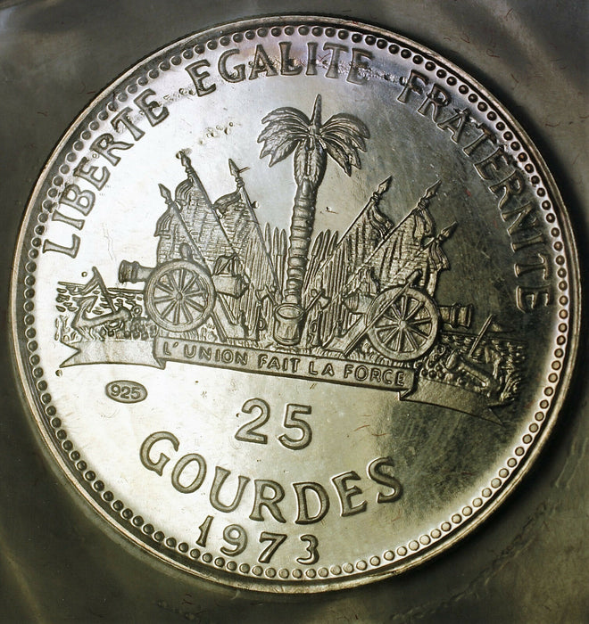 1973 Republic of Haiti 25 Gourdes Gem Proof Silver Coin OGP No COA