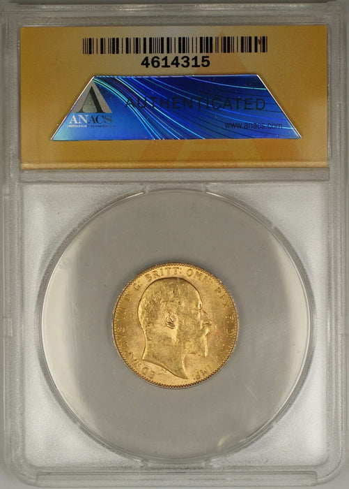 1908 Great Britain Sovereign Gold Coin ANACS MS-63 (AMT)
