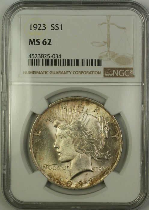 1923 Silver Peace Dollar $1 NGC MS-62 Lightly Toned (Better Coin) (15b)