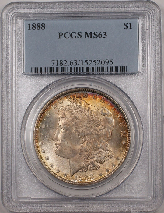 1888 Morgan Silver Dollar $1 Coin PCGS MS-63 Better Coin Toned (BR-21 A)