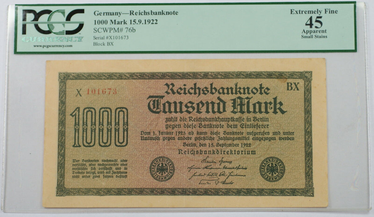 1922 Germany 1000 Mark Reichsbanknote SCWPM#76b PCGS EF-45 Apparent Small Stains