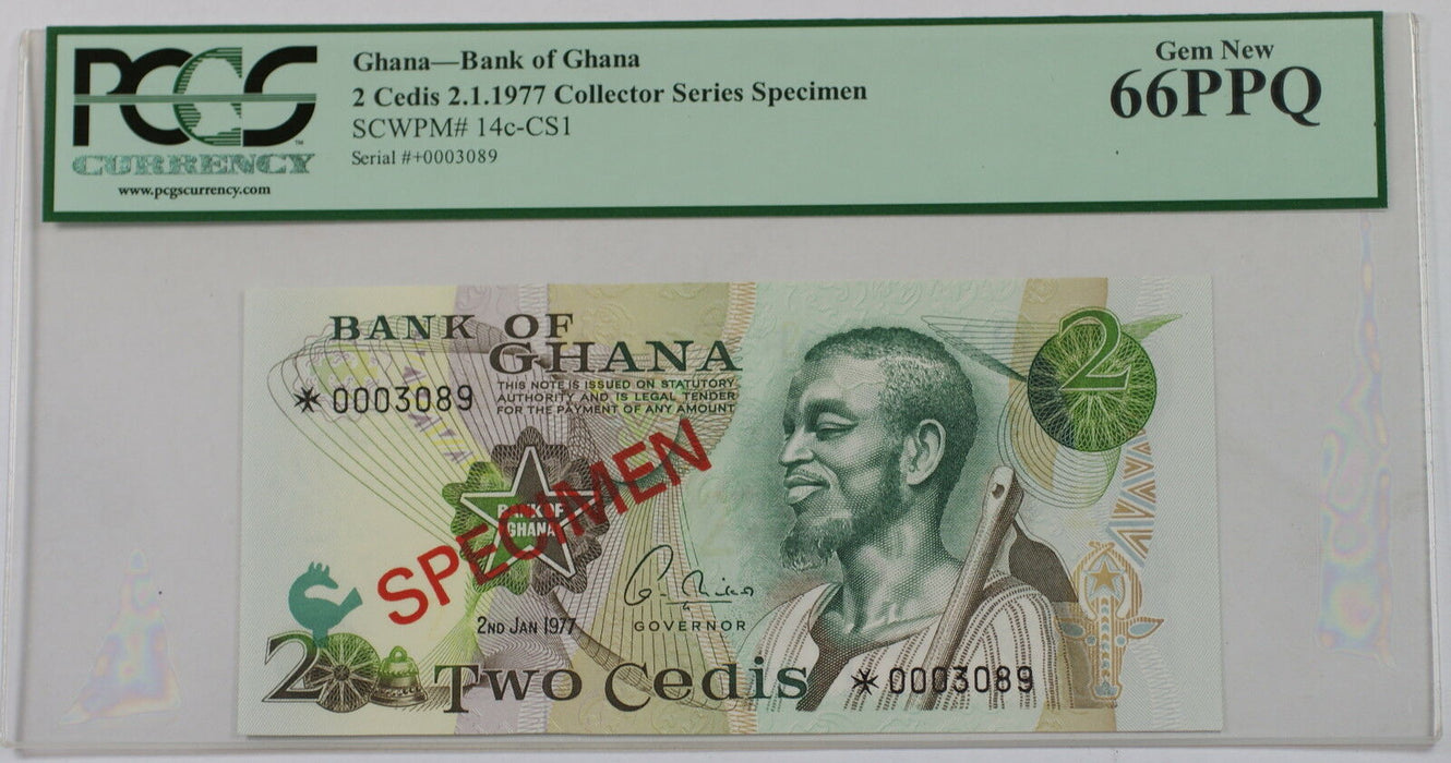 2.1.1977 Bank of Ghana 2 Cedis Specimen Note SCWPM# 14c-CS1 PCGS 66 PPQ Gem New