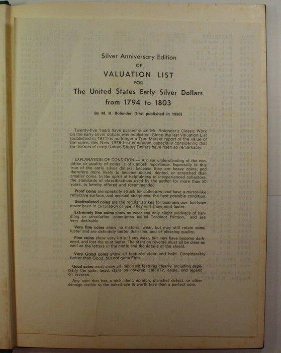 """The U.S. Early Silver Dollars 1794 to 1803"" MH Bolender 2nd ED Bebee's RSE A27"