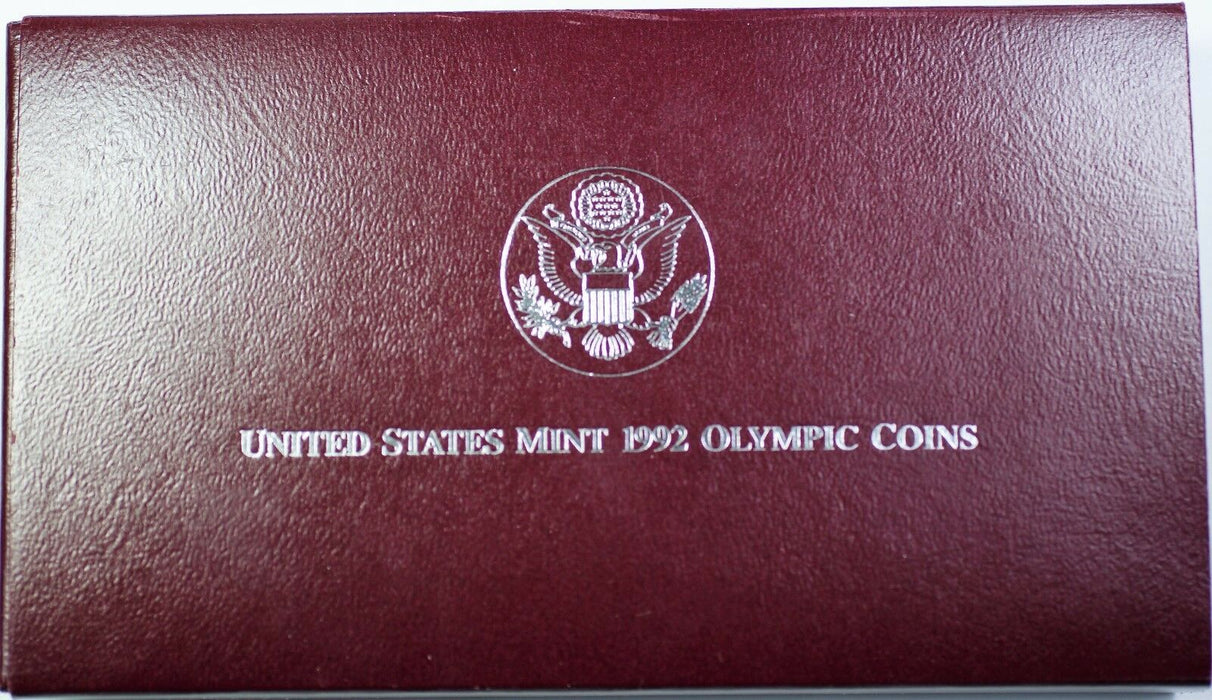 1992-S USA Olympics Baseball Silver Dollar Coin & Gymnastics Half as Issued OGP