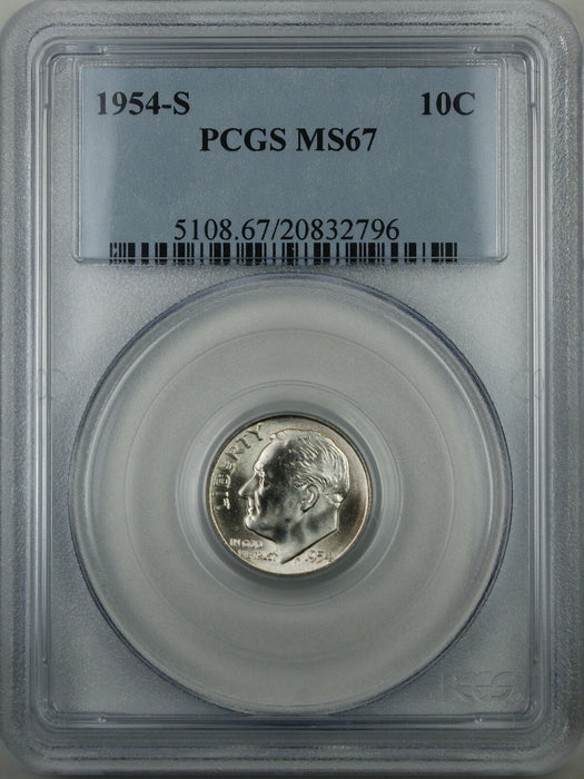 1954-S Silver Roosevelt Dime, PCGS MS-67, Brilliant Coin