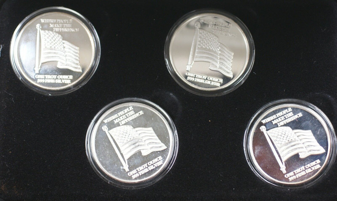 United States Armed Forces Silver Proof 1 Oz Four Medal Set from Highland Mint
