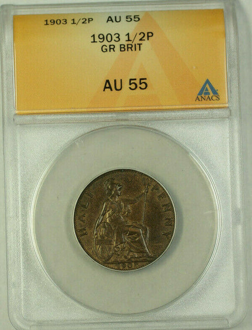 1903 Great Britain 1/2 Penny Coin ANACS AU-55
