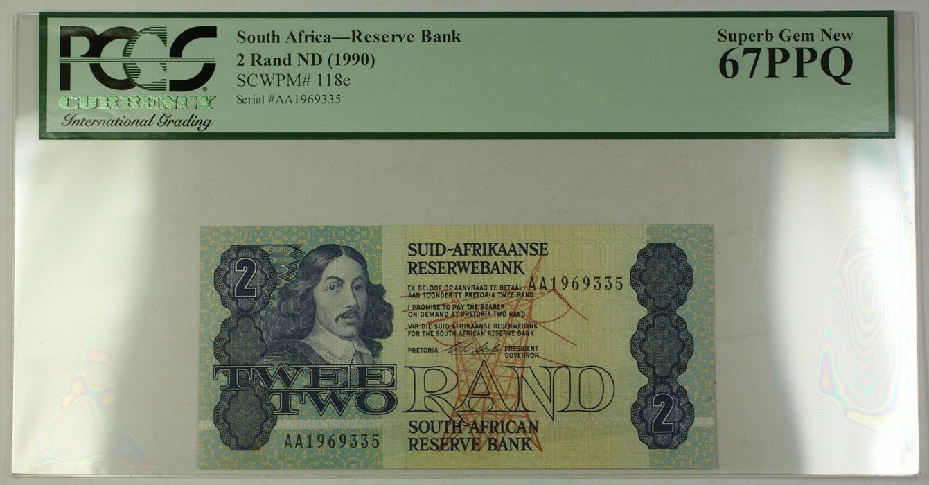 (1990) No Date South Africa 2 Rand Bank Note SCWPM# 118e PCGS GEM 67 PPQ