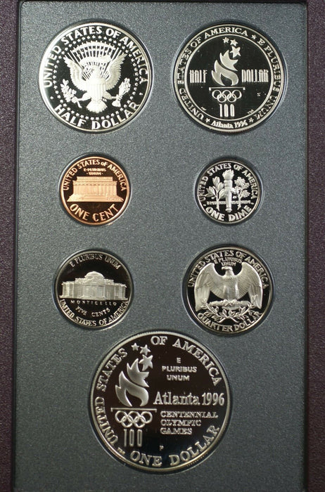 1996 S Prestige Olympic Set 6 Gem Proof Coins by the US Mint Silver $1