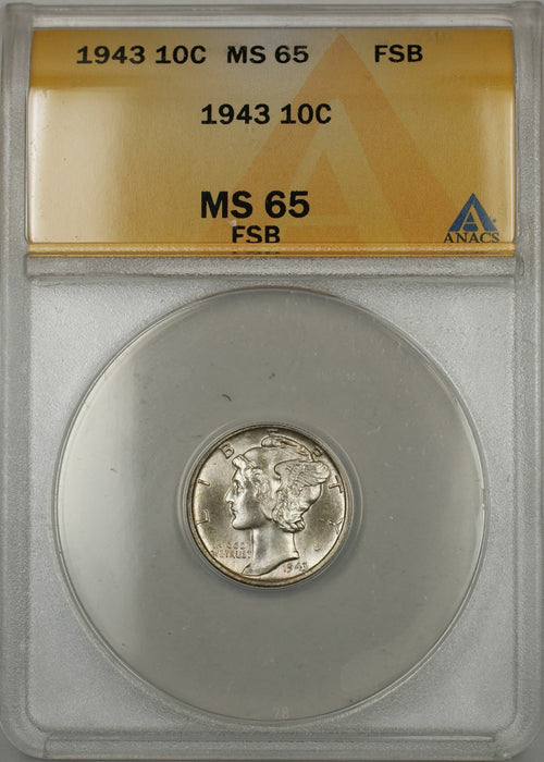 1943 Mercury Dime 10C ANACS MS-65 FSB Full Split Bands (11)