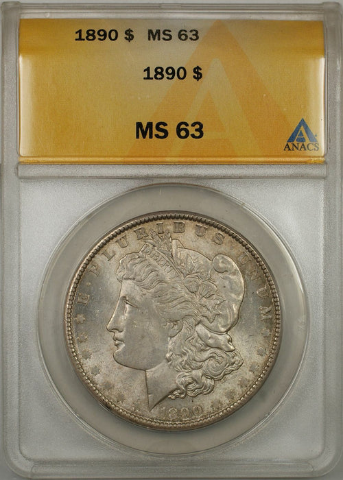1890 Morgan Silver Dollar Coin $1 ANACS MS-63 Toned (8A)