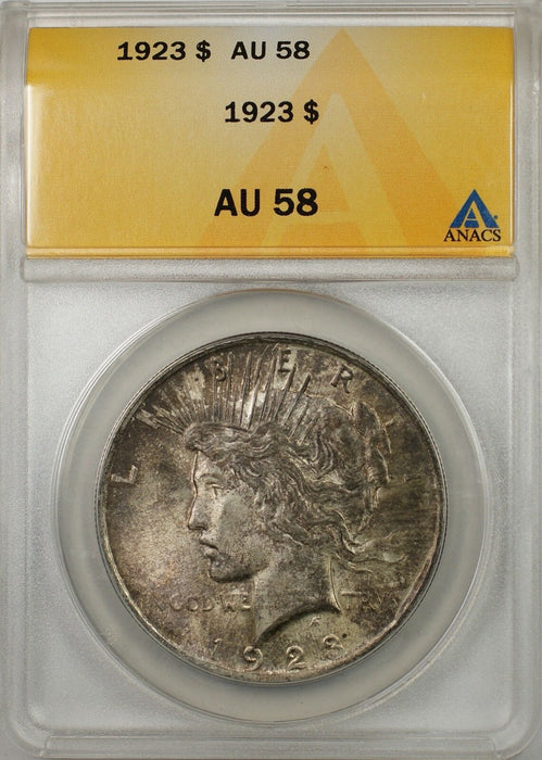 1923 $1 Peace Silver Dollar Coin ANACS AU-58 Toned (Better Coin) (8A)
