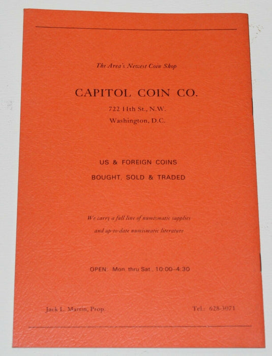 Metro Washington Numismatic Assoc. 4th Annual Convention July 1968 Catalog WW17R