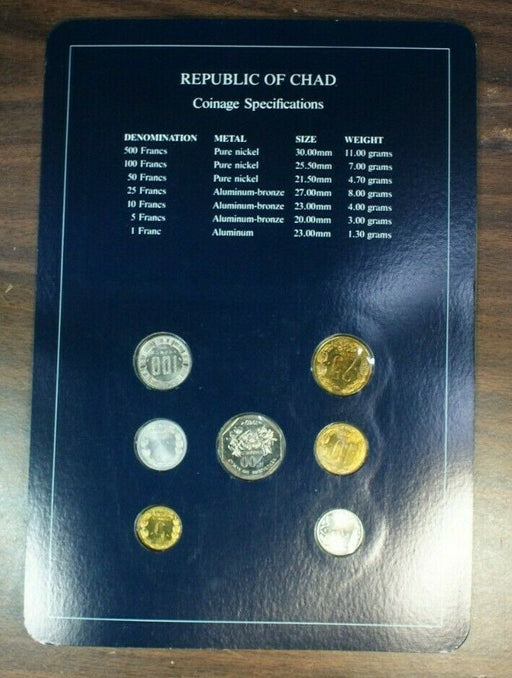 Coin Sets of All Nations Republic of Chad UNC 7 Coins BU