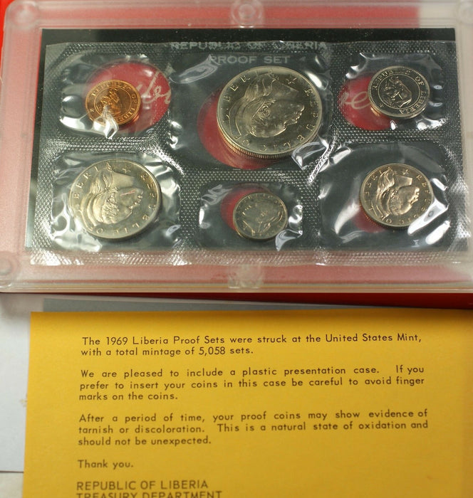 1969 Republic of Liberia Proof 6 Coin Set with COA Original Government Packaging