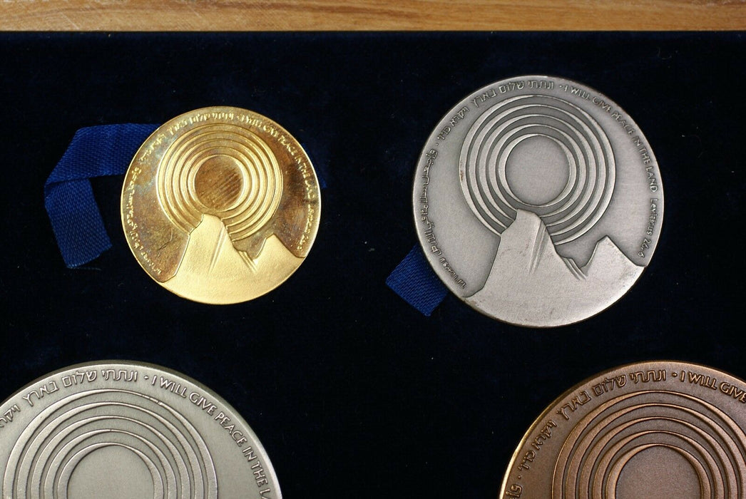 Israel 4 Pc Gold, Silver & Bronze Peace State Medal Set w/ Wooden Case & COA (B)