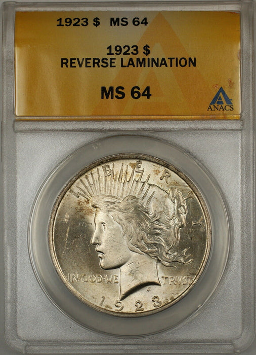 1923 Reverse Lamination Peace Silver Dollar Coin $1 ANACS MS-64