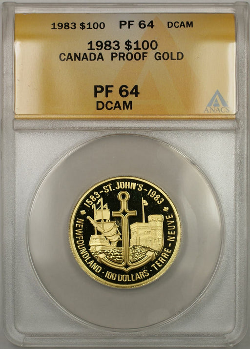 1983 Proof Canada St. John New Land 1/2 oz Gold Coin $100 ANACS PF-64 DCAM (AMT)