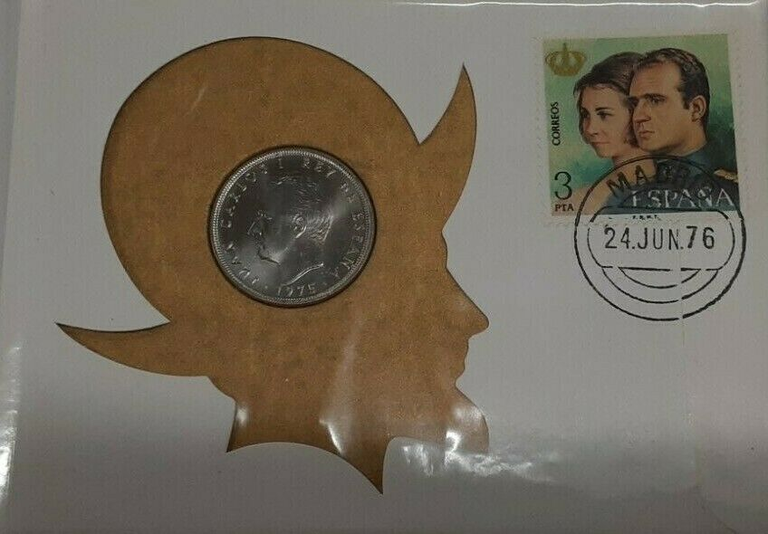1975 Spain BU 25 Peseta Coin W/Stamp in First Day Cover