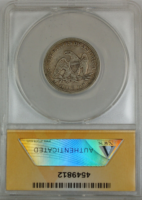 1854 Seated Liberty Silver Quarter, ANACS EF-40, Details - Cleaned
