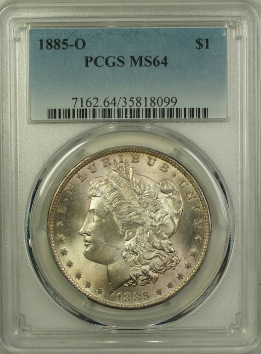 1885-O Morgan Silver Dollar $1 Coin PCGS MS-64 (10G)