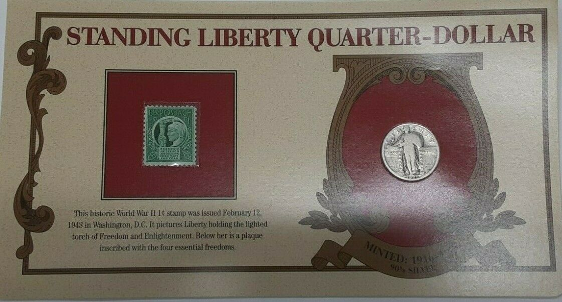 Liberty Head Coins 1925 Standing Liberty Quarter W/Stamp in Information Card
