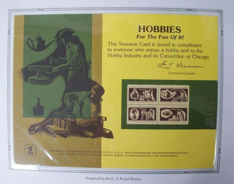 souvenir card PS 13 Hobby Show 1974 block 1972 8¢ Colonial Craftsmen