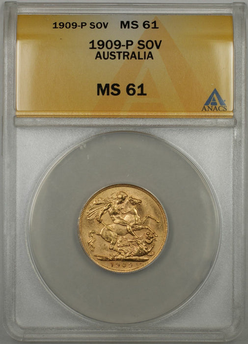1909-P Australia Sovereign Gold Coin ANACS MS-61 (M AMT)