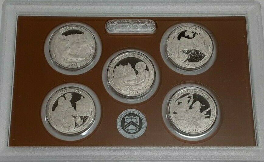 2017-S U.S. Mint 5 Coin Proof National Parks Quarters Set In OGP With Box & COA