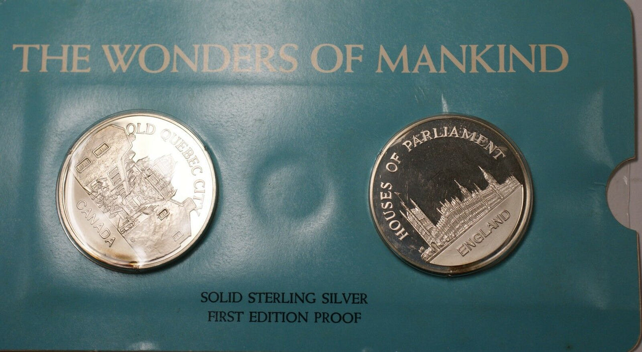 Old Quebec & Houses Parliament Solid Sterling Silver Proof Medals Franklin Mint