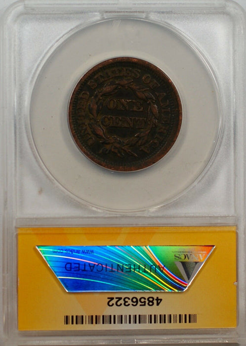 1852 Large Cent 1c Coin ANACS VF 35 (B)