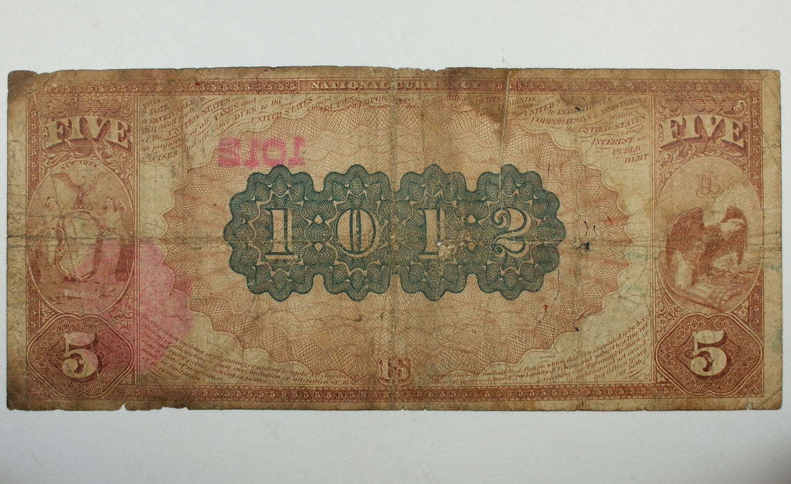 Series 1882 $5 National Currency Note, Central National Bank, Troy NY Ch. #1012