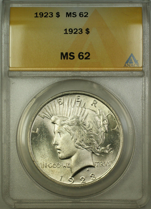 1923 Silver Peace Dollar $1 Coin ANACS MS-62 (Better Coin) (C) RL