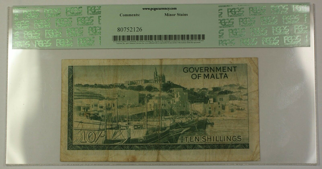 L.1949 (1963) Malta 10 Shillings Note SCWPM# 25a PCGS F-15 Minor Stains