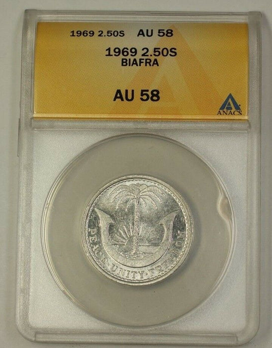 1969 Biafra Two and a Half Shillings 2.5s Aluminum Coin ANACS AU-58