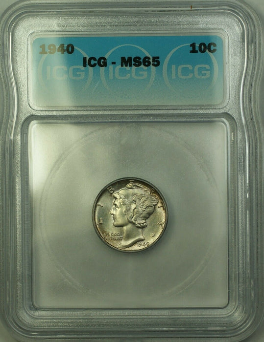 1940 Silver Mercury Dime 10c ICG MS-65 Toned Gem BU (Better Coin) (A)