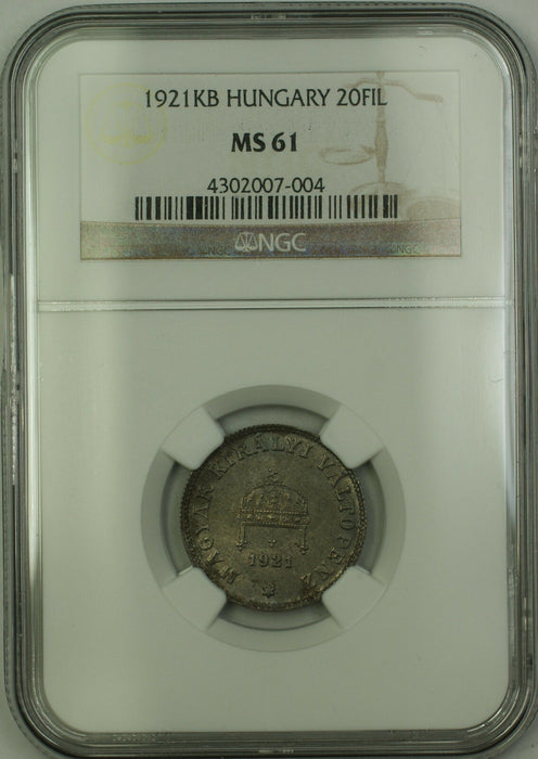 1921-KB Hungary 20 Filler Coin NGC MS-61 *Very Rare*