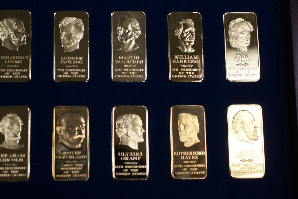 1986 Presidents through Regan 14Kt Gold over Bronze Proof Ingot Set